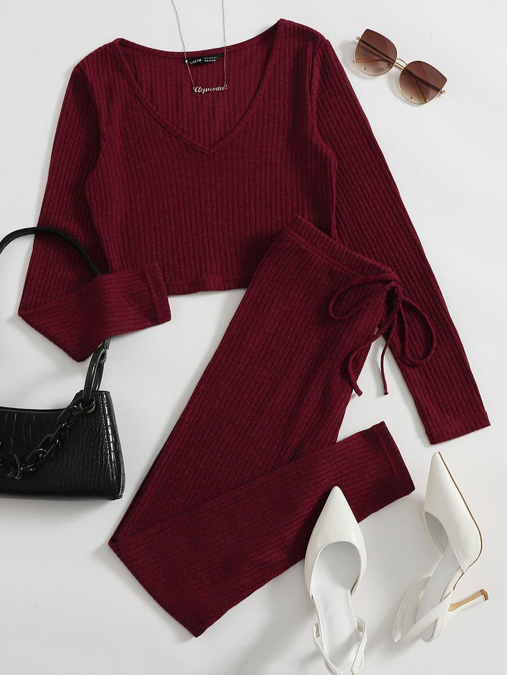 V-neck Rib-knit Tee and Knotted Leggings Set