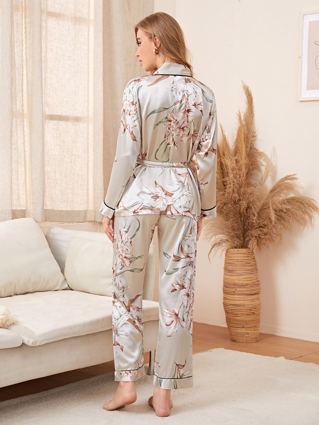 Floral Print Self Tied Satin Night Set