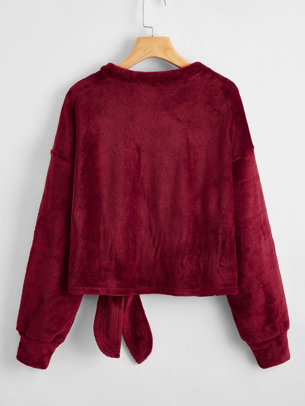 Drop Shoulder Knot Front Fluffy Knit Burgundy Sweater FD