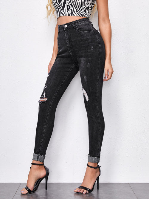 Solid Ripped Skinny Jeans Black-Negative Apparel