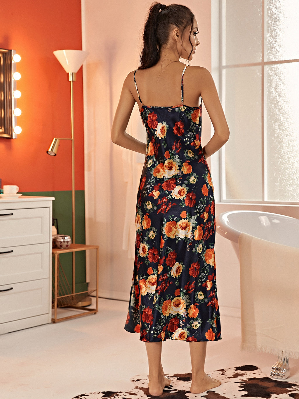 Allover Floral Print Split Hem Satin Cami Dress