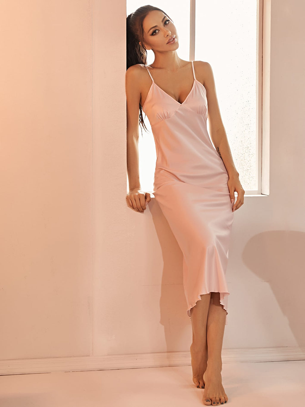 Split Hem Satin Cami Dress