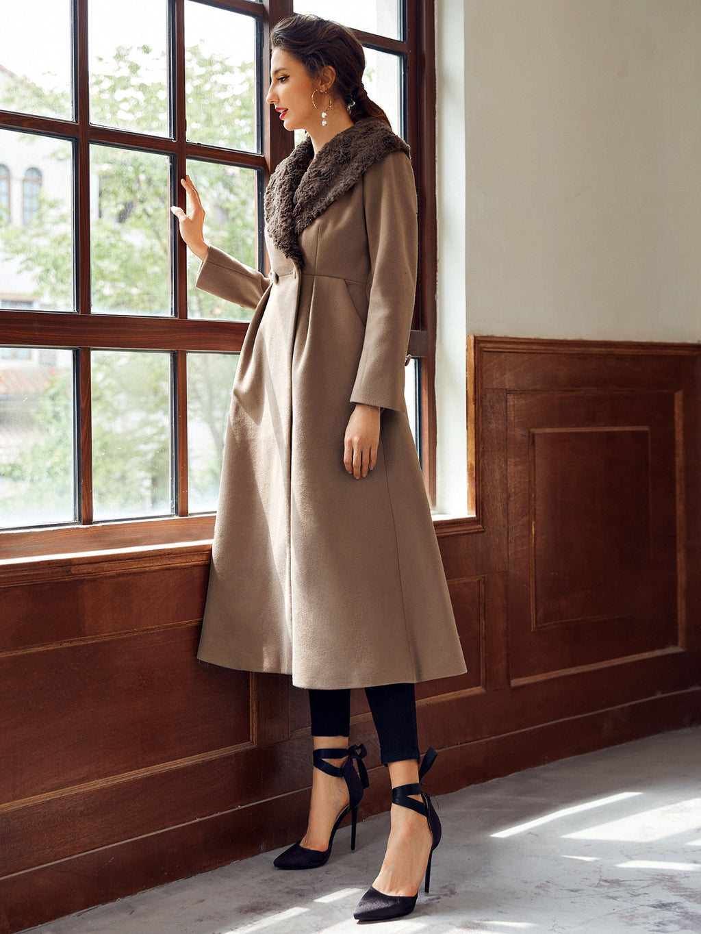 Double Button Flare Hem Waterfall Coat FD