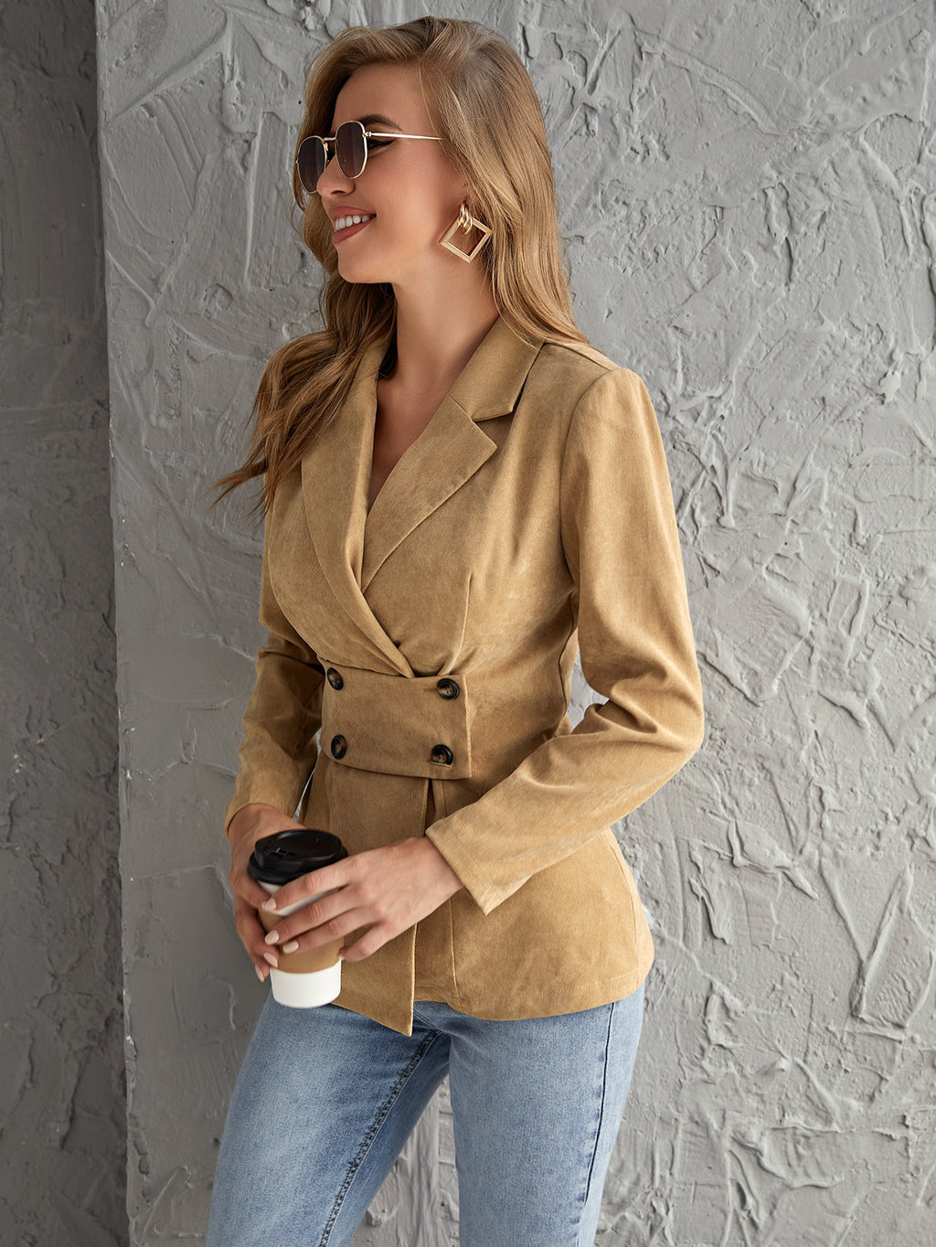 Notched Collar Double Breasted Blazer FD