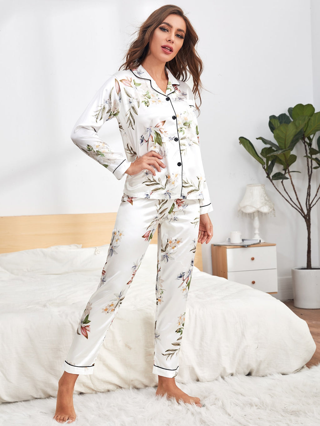 Floral Print Button Satin Top & Pants PJ Set