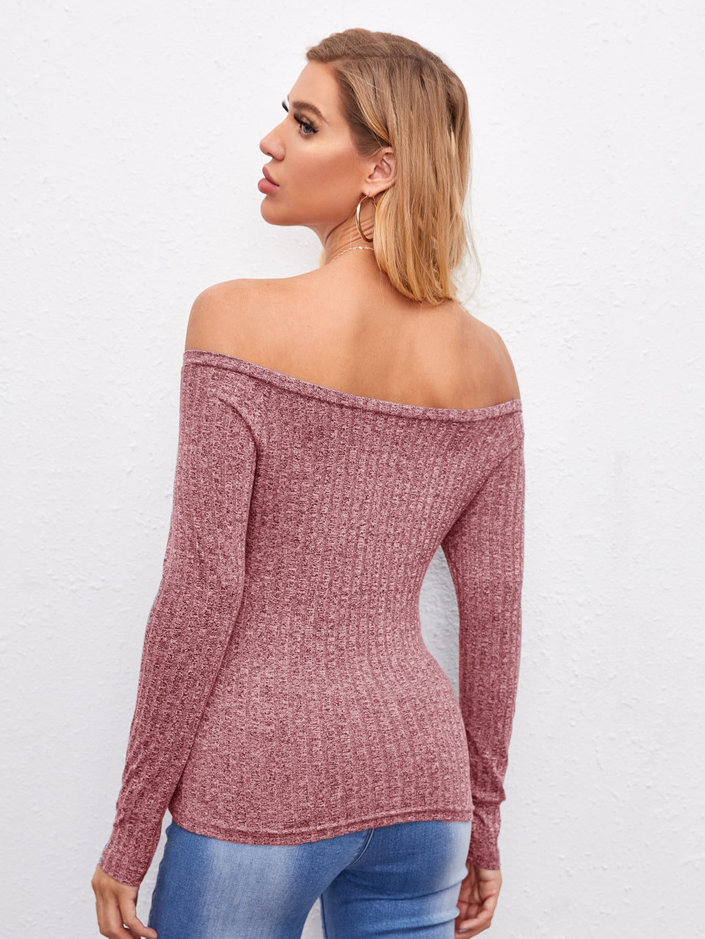 Off Shoulder Marled From Fitted Tee