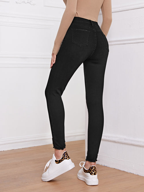 High Stretch Ripped Skinny Jeans Without Belt Black-Negative Apparel