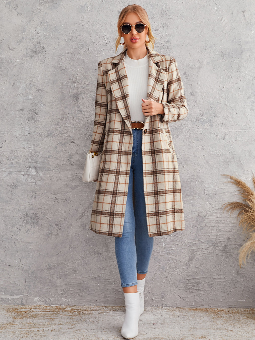 Lapel Neck Single Button Tartan Overcoat FD