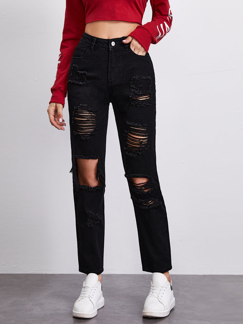 High Waisted Ripped Straight Leg Jeans-Negative Apparel