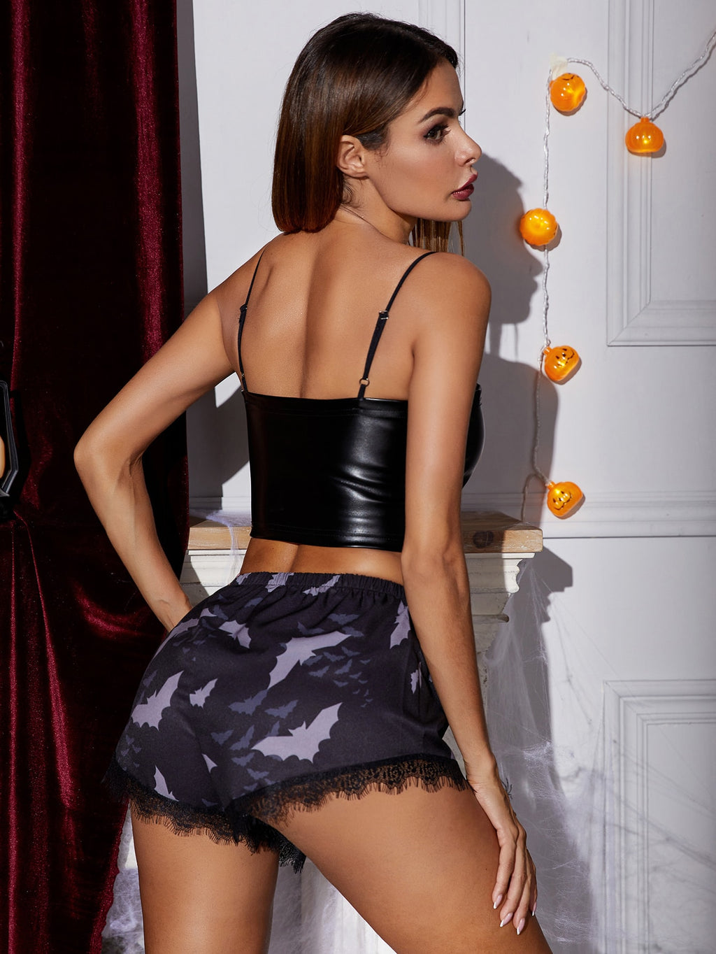 PU Cami Top With Halloween Print Shorts Night Set