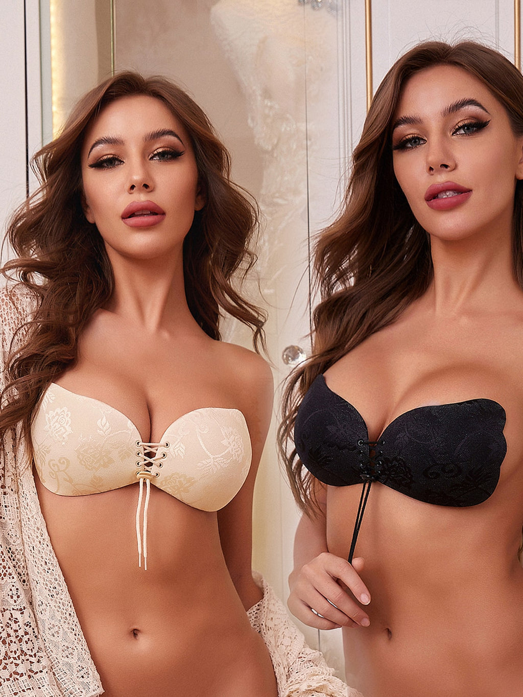 2pack Lace-up Self Adhesive Bra Set
