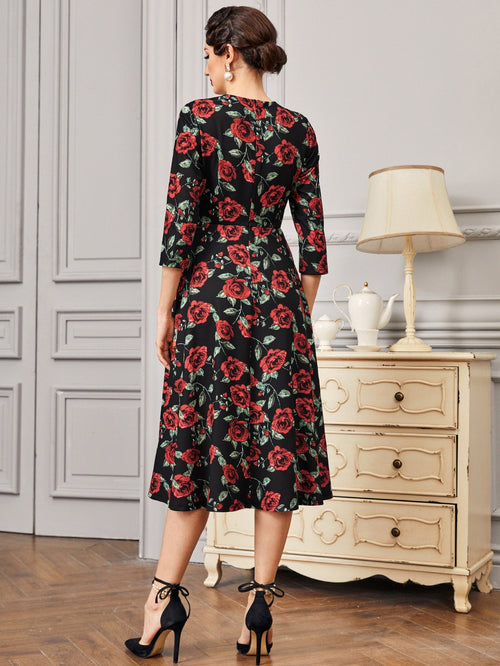 Sweetheart Neck Floral Dress-Negative Apparel