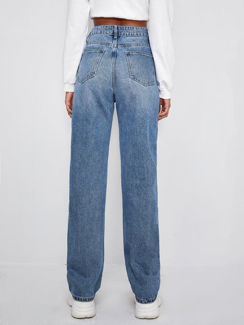 High Waist Baggy Jeans-Negative Apparel