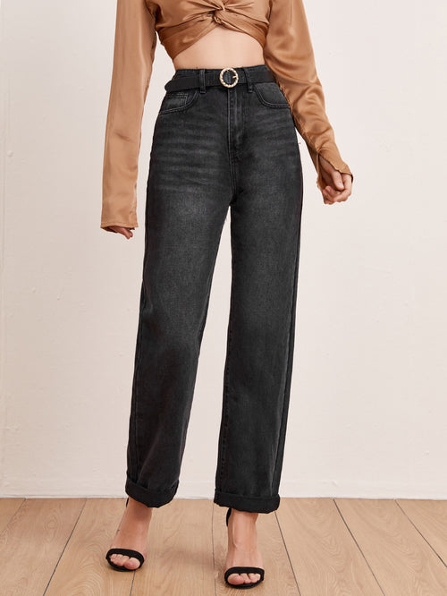 High Waist Straight Leg Jeans Without Belt-Negative Apparel