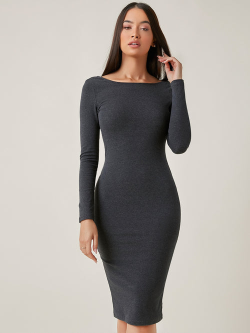 BASICS Low Back Solid Bodycon Dress FD-Negative Apparel
