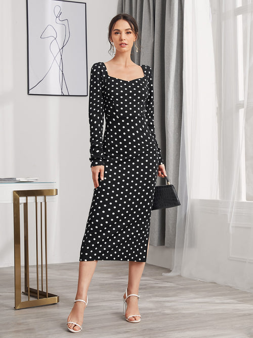 Polka Dot Sweetheart Neckline Dress-Negative Apparel