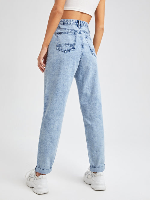 Light Wash High Waist Jeans-Negative Apparel