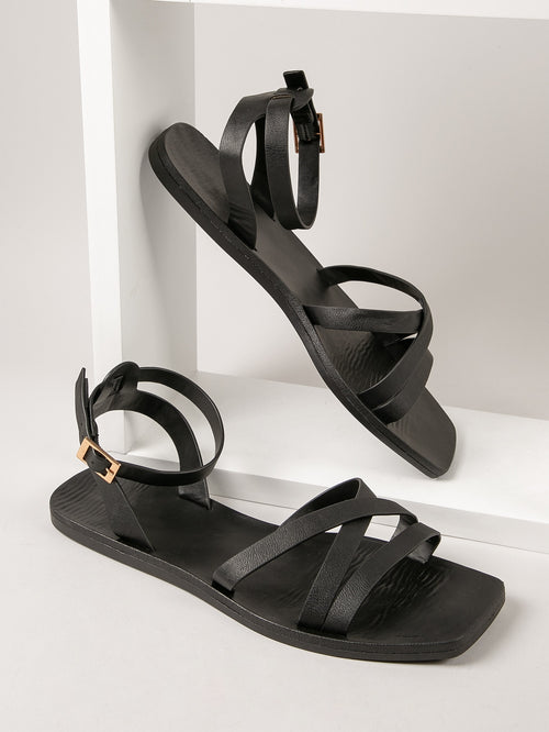 Faux Leather Square Toe Strappy Sandals-Negative Apparel