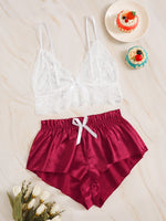 Floral Lace Bralette With Satin Shorts-Negative Apparel
