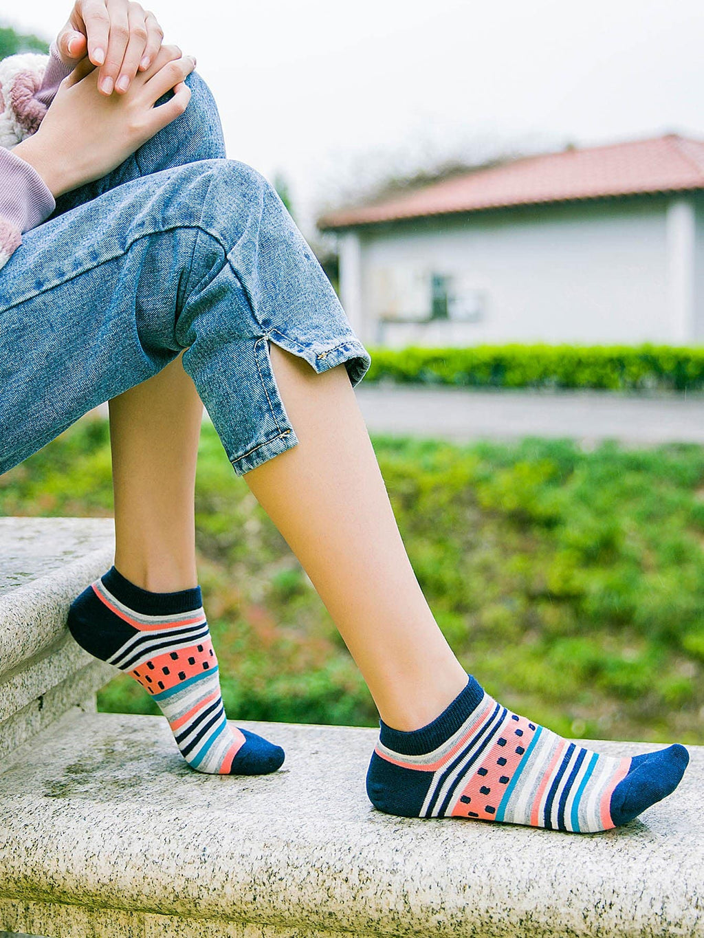 Fruit Pattern Ankle Socks 5pairs-Negative Apparel (2038872178758)