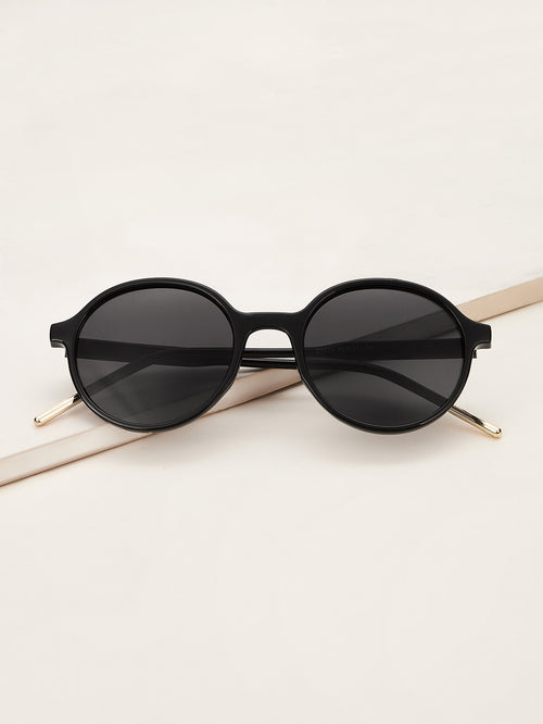 Solid Frame Round Sunglasses-Negative Apparel