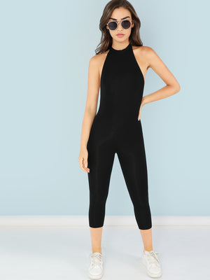 Mock Neck Form Fitting Jumpsuit-Negative Apparel (2039490576454)