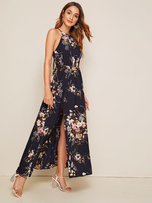Botanical Print Tie Back High Split Halter Dress (3924278444102)