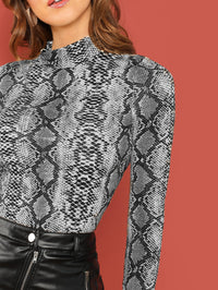 Mock-neck Snake Skin Print Fitted Tee-Negative Apparel (1952207044678)