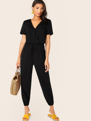 Solid Drawstring Waist Surplice Neck Jumpsuit (3932502392902)