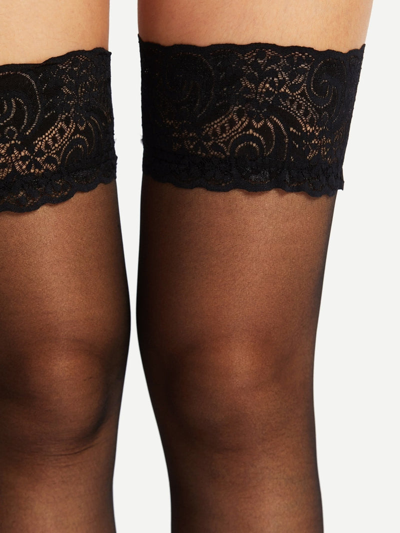 Lace Hem Over The Knee Socks-Negative Apparel (1981957603398)