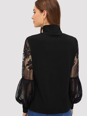High Neck Lace Lantern Sleeve Top-Negative Apparel (1975636525126)