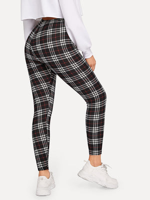 Plaid Print Leggings-Negative Apparel (1945907691590)