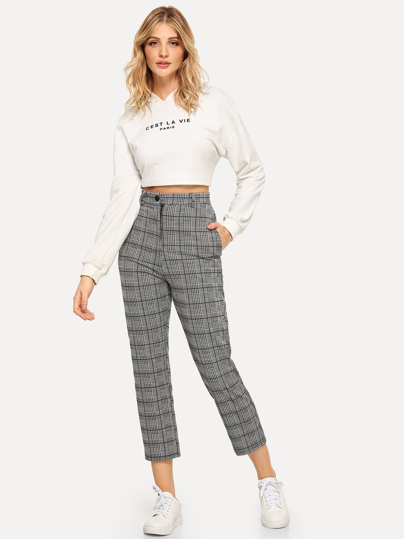 Plaid Button Decoration Pants-Negative Apparel (1985466105926)