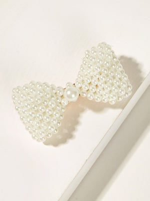 Faux Pearl Decor Bow Shaped Hair Clip-Negative Apparel (2087757545542)