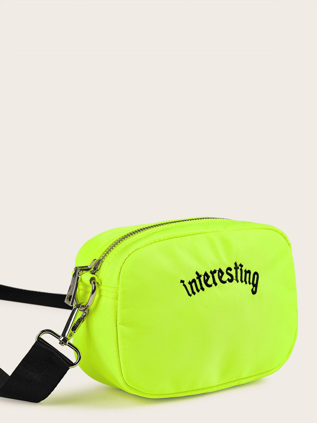 Letter Embroidery Neon Lime Crossbody Bag (3934038196294)