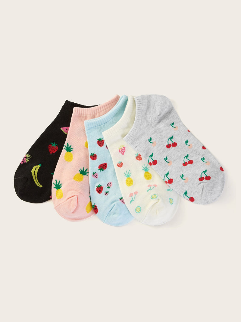 Strawberry & Pineapple Pattern Ankle Socks 5pairs (3924271071302)
