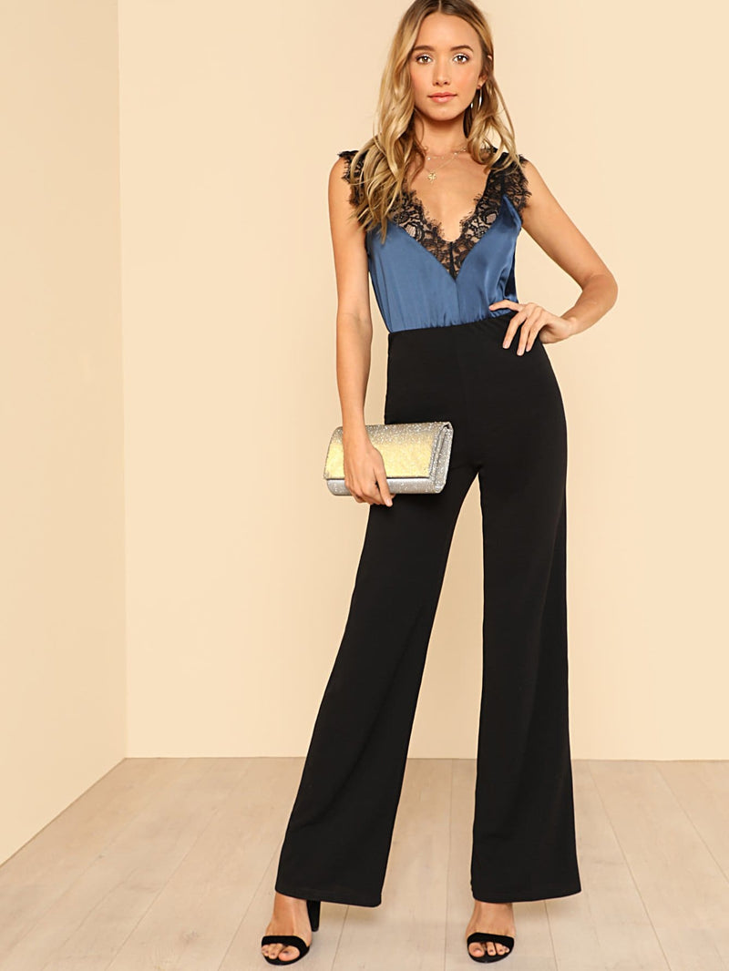 High Waist Straight Pants-Negative Apparel (1985466925126)