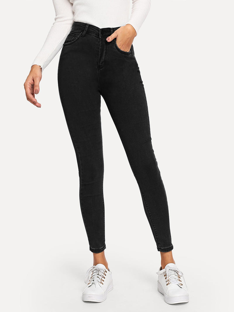 Plain Skinny Jeans-Negative Apparel