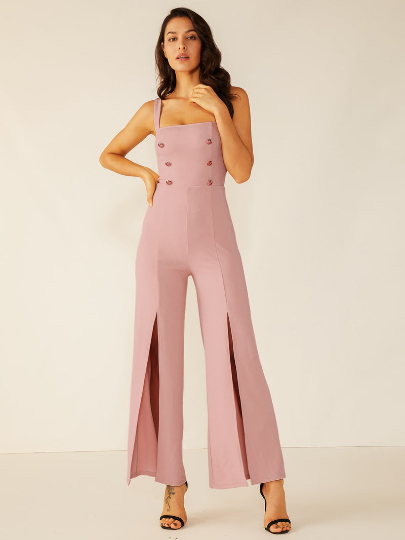 Double Crazy Solid M-slit Hem Double Button Jumpsuit-Negative Apparel