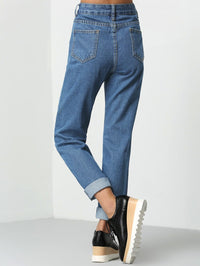 Stitch Detail Button Fly Jeans-Negative Apparel (1985457160262)