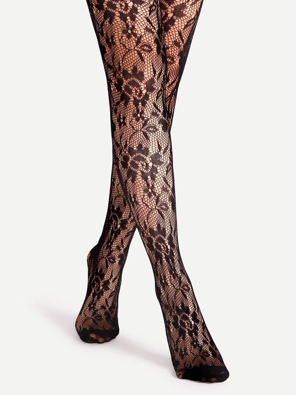 Black Floral Pattern Jacquard Pantyhose Stockings-Negative Apparel (1981956751430)