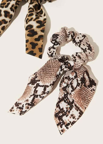 3pcs Leopard & Snakeskin Pattern Scrunchie Scarf FD-Negative Apparel