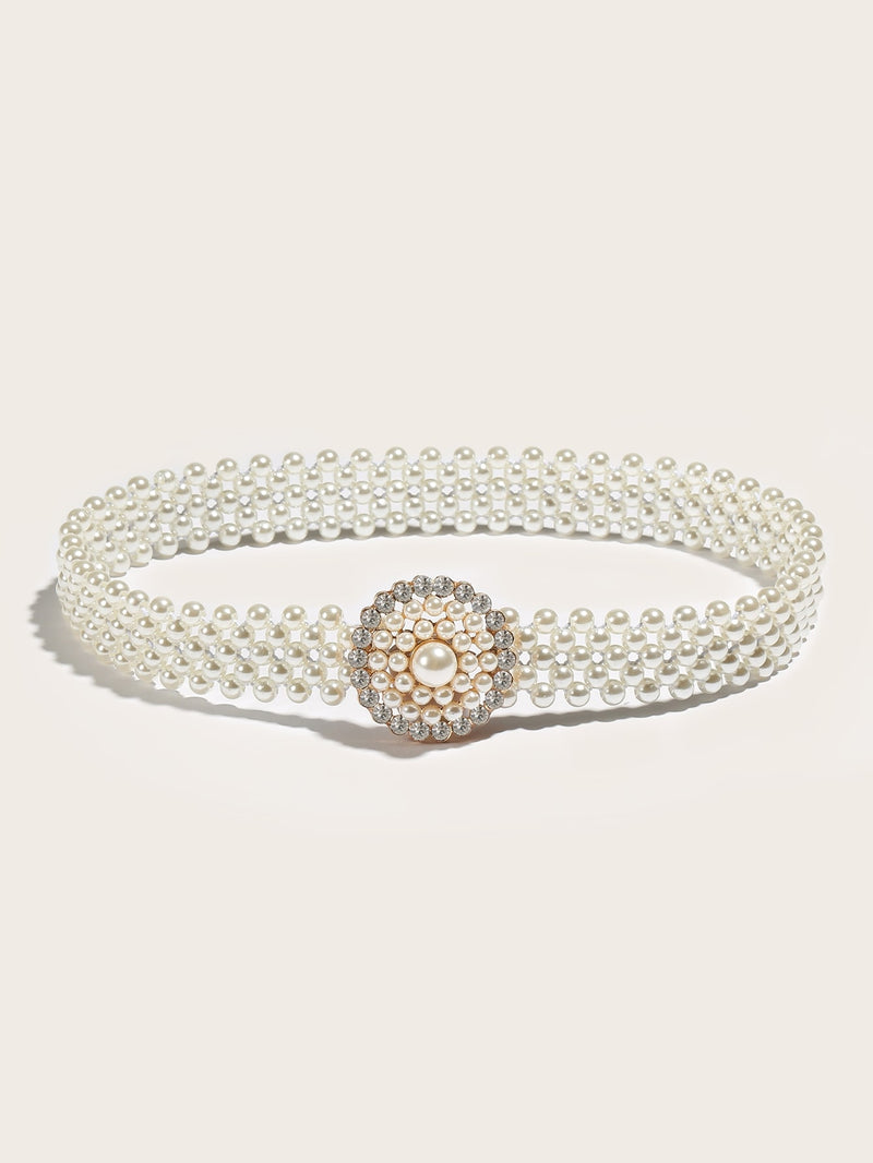 Faux Pearl Embellished Chain Belt-Negative Apparel