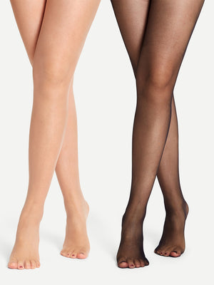 3D Plain Sheer Tights 2pack-Negative Apparel (1981958389830)