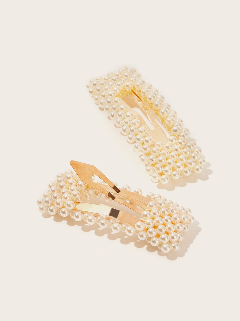 Faux Pearl Decor Square Hair Snap Clip 2pack-Negative Apparel