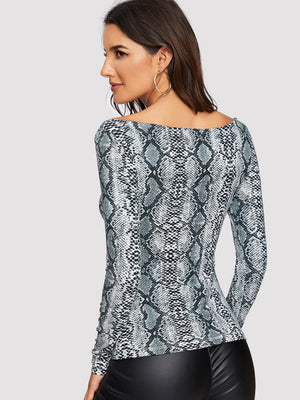 Slim Fitted Snake Print Tee-Negative Apparel (2023284375622)