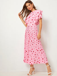 Tie Neck Ruffle Dot Print Pleated Dress (3962499104838)