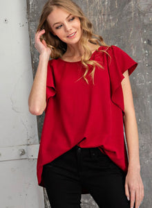 Ruby ribbon tie back top