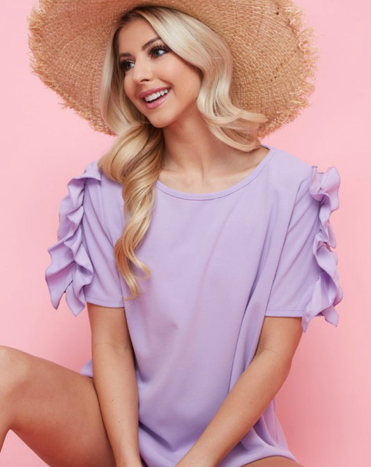 Lavender ruffle sleeve top