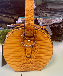 Faux mustard crocodile handbag